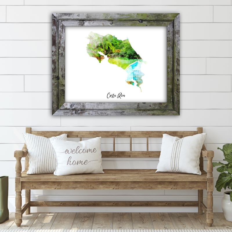 "Costa Rica Watercolor Map Print - Unframed Art Print-7""x5""-Horizontal/Landscape-Daily Steals"