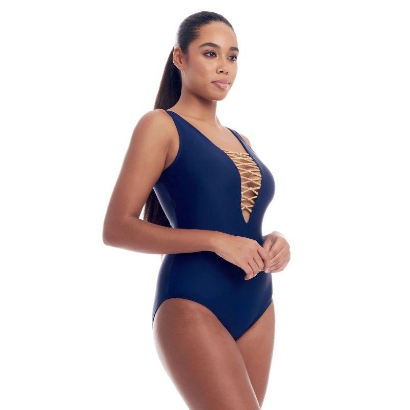 Cover Girl Women's Lace Up One-Piece Swimsuit-Black with Silver Metallic-10-