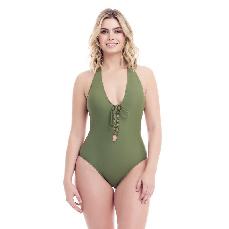 Cover Girl Women's Sohp's Lace-Up design One-Piece Swimsuit-Olive Green-10-