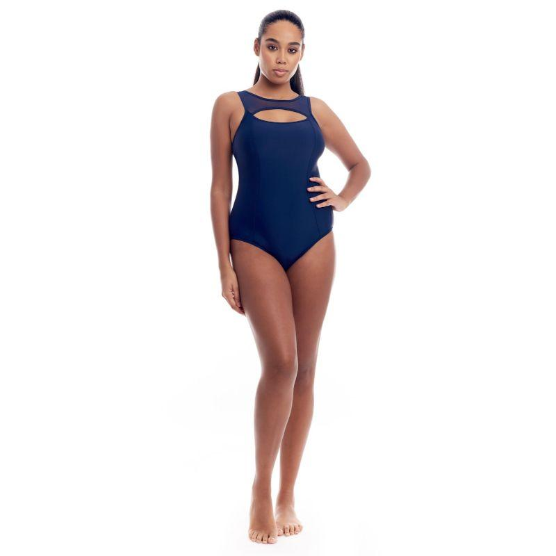 Cover Girl Women's Sporty Mesh One-Piece Swimsuit-Black with Neon Orange-10-