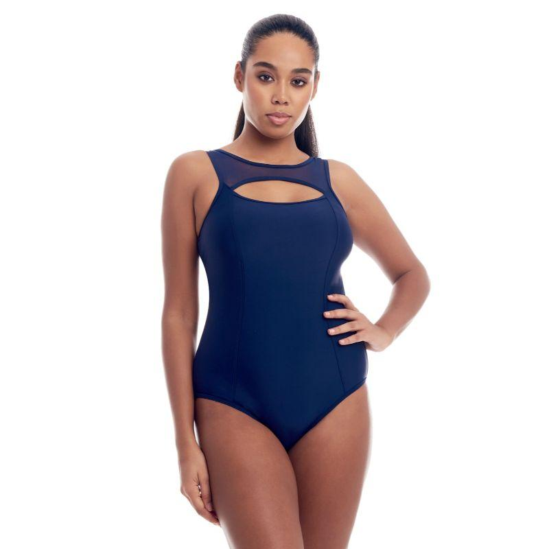 Cover Girl Women's Sporty Mesh One-Piece Swimsuit-Navy-14-
