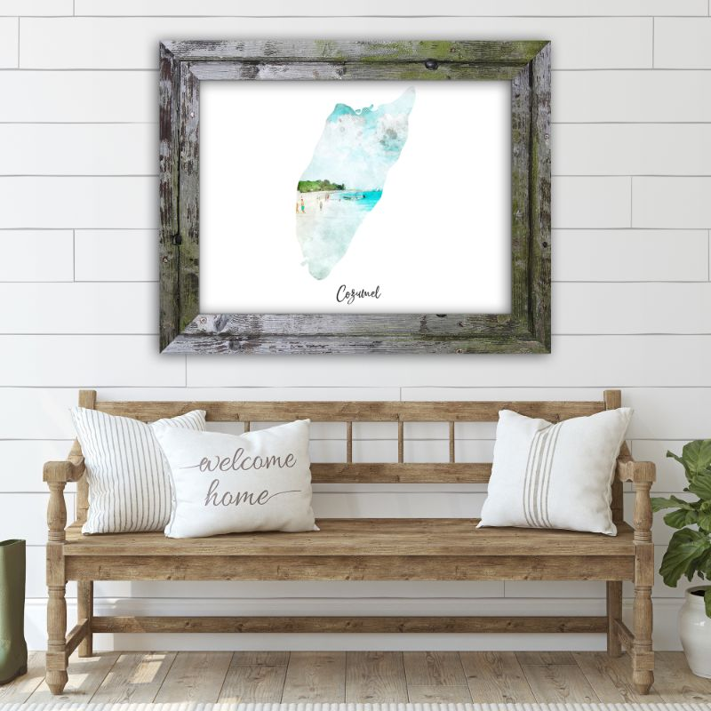 "Cozumel Watercolor Map Print - Unframed Art Print-19""x13""-Horizontal/Landscape-Daily Steals"