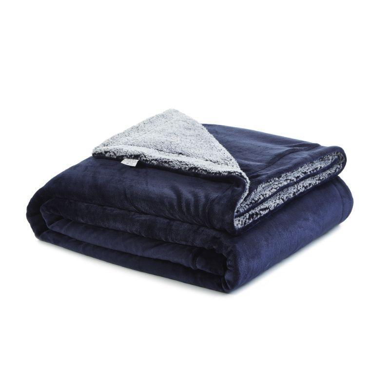 "Cozy Tyme Saleem Flannel Reversible Heathered Sherpa Throw Blanket-Navy-108""x90""-"