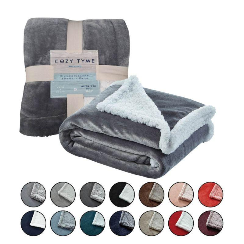 "Cozy Tyme Saleem Flannel Reversible Heathered Sherpa Throw Blanket-Light Gray-60""x80""-"