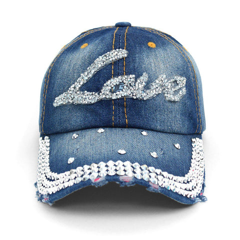 Bling Studs Denim Baseball Cap with Great Fit