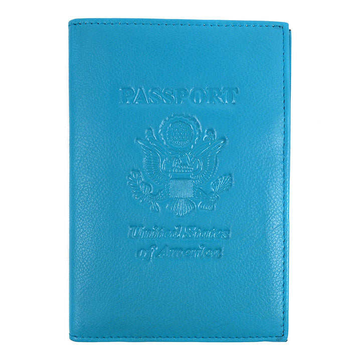 Genuine Leather American Eagle Embossed RFID-Blocking Passport Case-Teal-Daily Steals