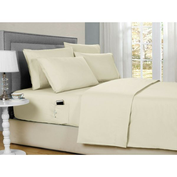 Bamboo 2000 6-Piece Smart Sheets Set with Storage Pocket-Cream-Queen-Daily Steals