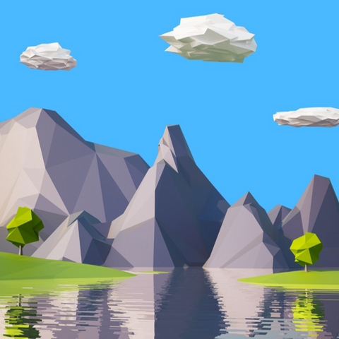 Create 6 low poly rock models in Blender for 3D environments-