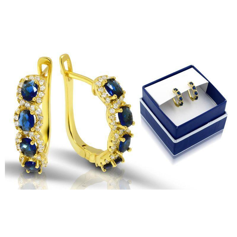 Created Blue Sapphire Gemstone Hoop Earrings in 18K Gold Plate Over Silver-