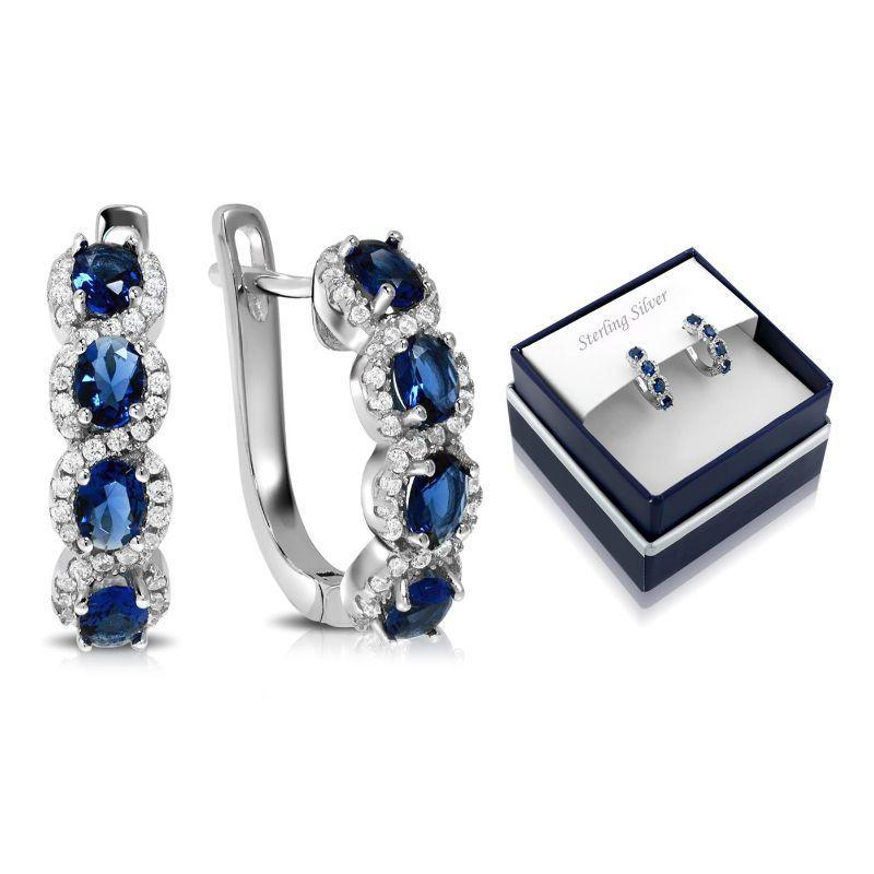 Created Blue Sapphire Gemstone Hoop Earrings in Sterling Silver-