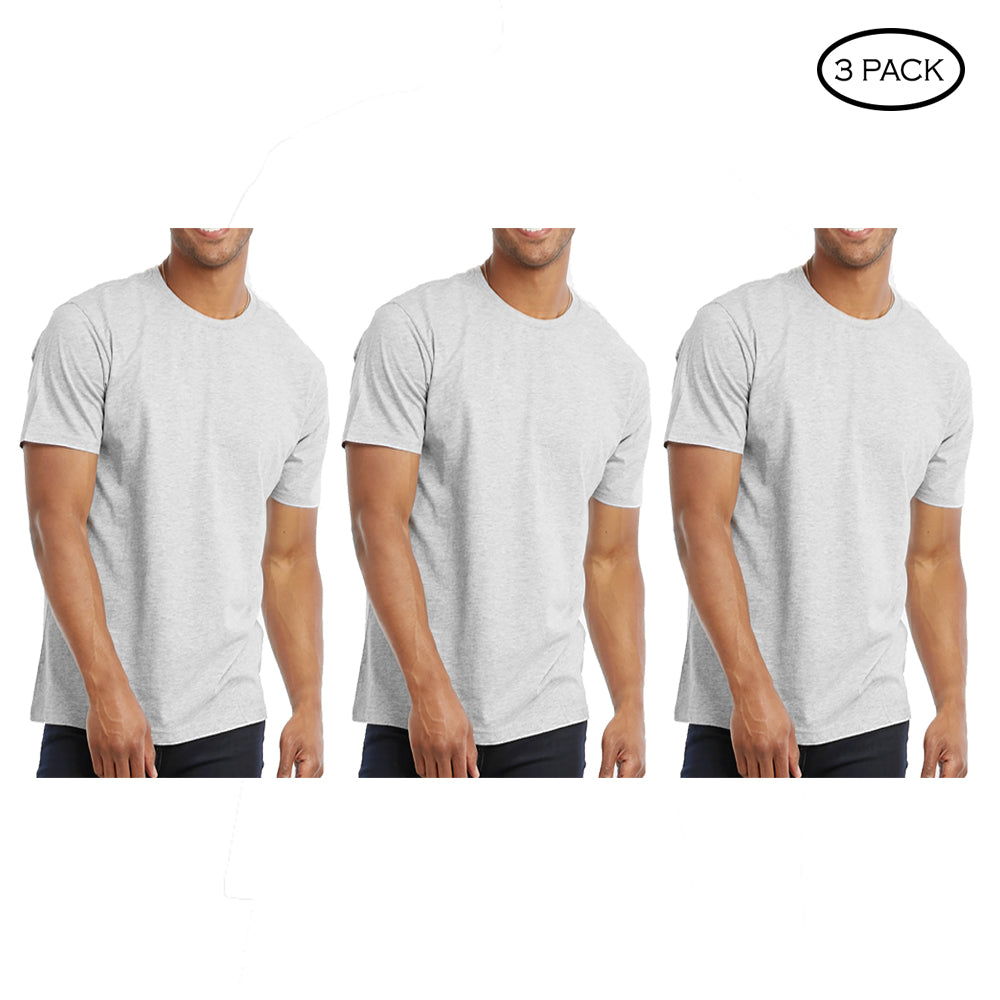 update alt-text with template Daily Steals-Crew Neck Cotton Plain T-Shirt - 3 Pack-Men's Apparel-Light Grey-S-