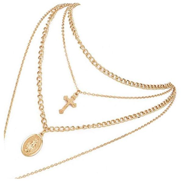 Four Layer Gold-Tone Chain Necklace with Cross and Virgin Mary-Daily Steals