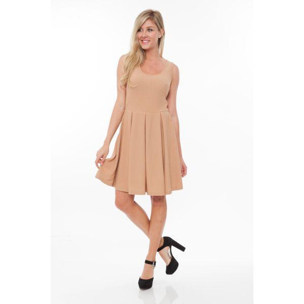 Daily Steals-Crystal' Fit and Flare Dress-Women's Apparel-Beige-S-
