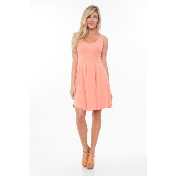 Daily Steals-Crystal' Fit and Flare Dress-Women's Apparel-Coral-S-