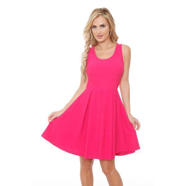 Daily Steals-Crystal' Fit and Flare Dress-Women's Apparel-Fuchsia-S-