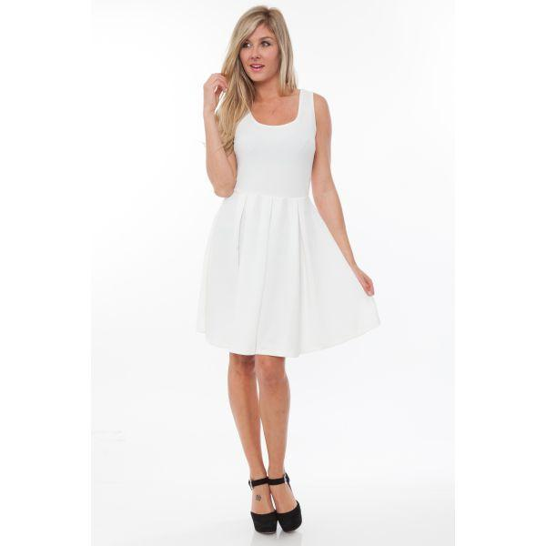 Daily Steals-Crystal' Fit and Flare Dress-Women's Apparel-Ivory-S-