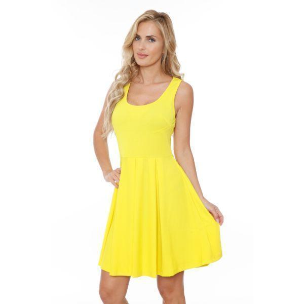 Daily Steals-Crystal' Fit and Flare Dress-Women's Apparel-Yellow-S-