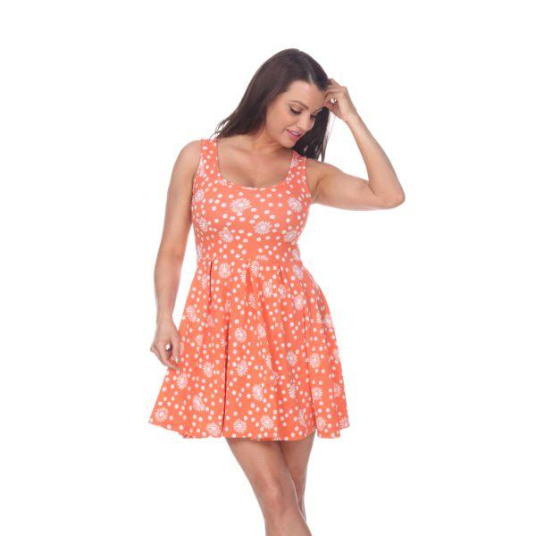Imprimé floral 'Daily Steals-Crystal' '- Vêtements pour femmes-Orange / Blanc-M-