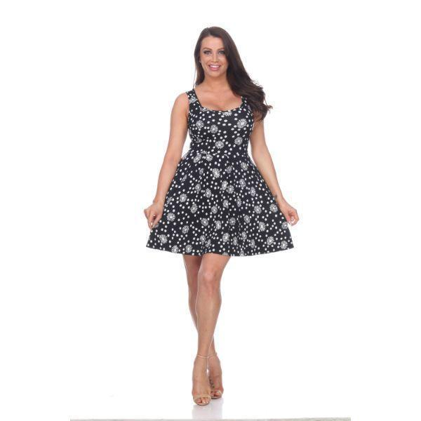 Daily Steals-Crystal' Fit and Flare Floral Dress-Women's Apparel-Black/White-S-