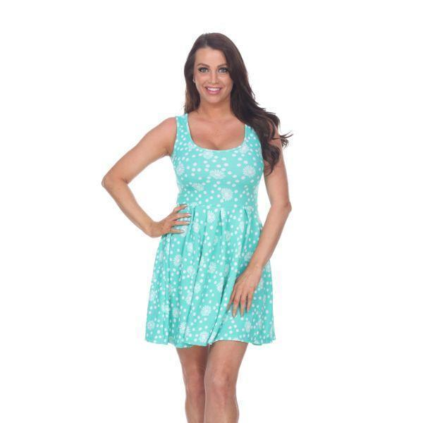 Daily Steals-Crystal' Fit and Flare Floral Dress-Women's Apparel-Mint/White-S-
