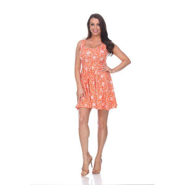 Imprimé floral 'Daily Steals-Crystal' '- Vêtements pour femmes-Orange / Blanc-S-
