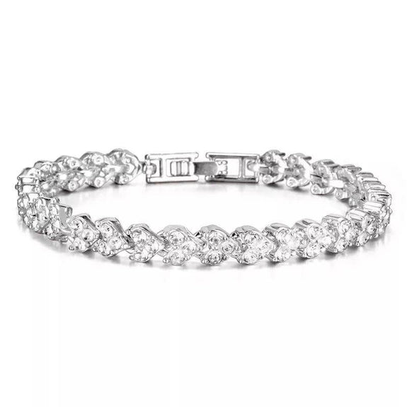 Crystal Tennis Bracelet - Plated White Gold-