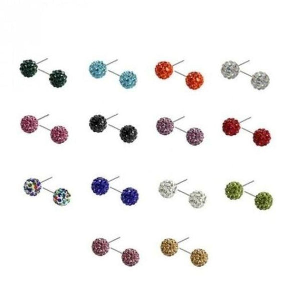Crystal Ball Stud Earrings - 14 Pair Set-Daily Steals