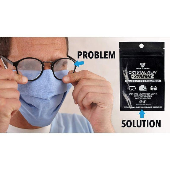 CrystalView Xtreme Anti-Fog Wipe Treatment for Glasses or Visors w Masks-
