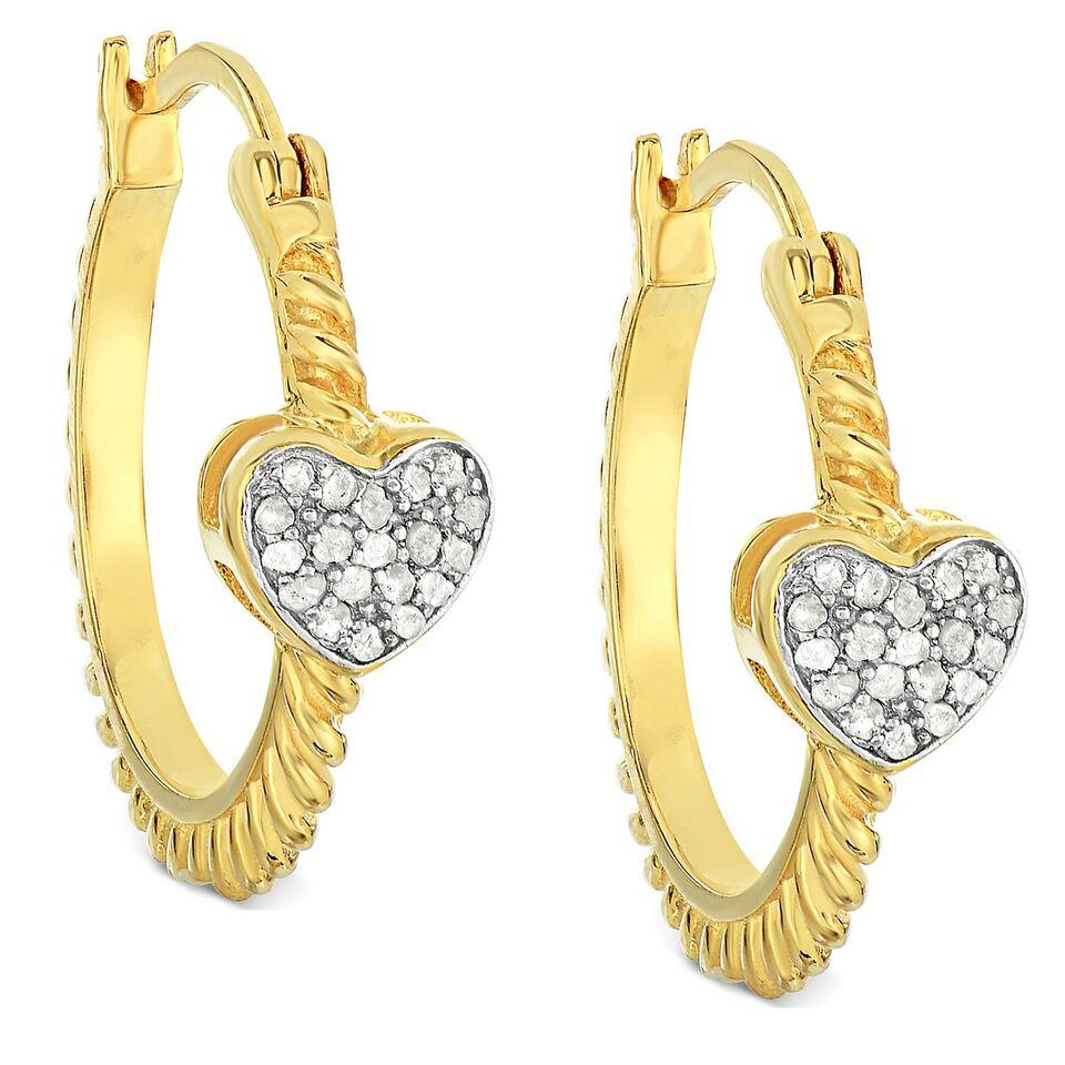 Daily Steals-Cubic Zirconia 18K Gold-Plated Heart Huggie Hoop Earrings-Jewelry-