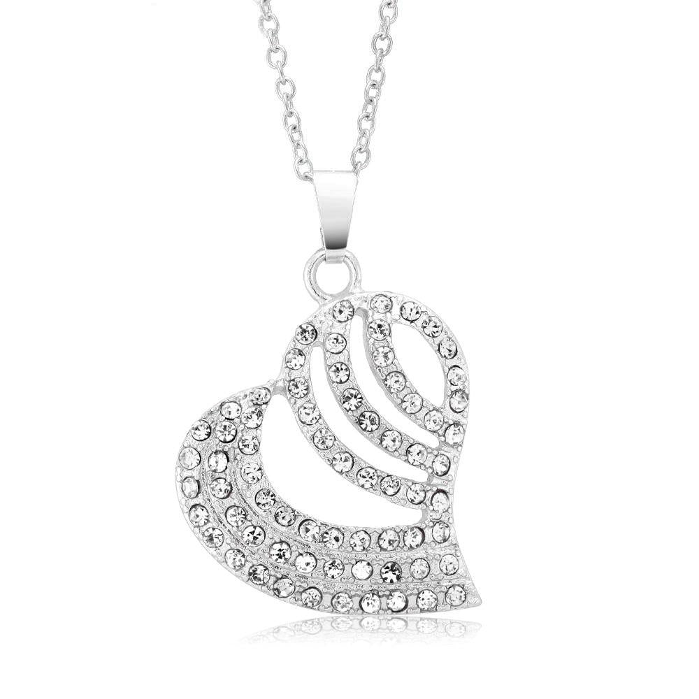 Daily Steals-Cubic Zirconia Striped Heart Drop Necklace-Jewelry-