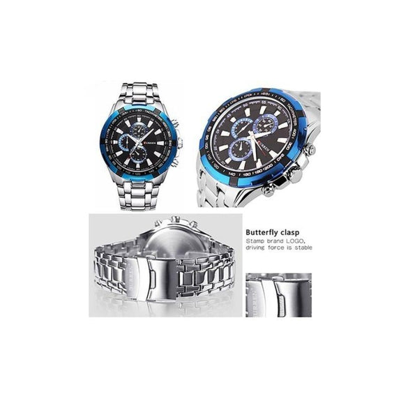 Curren Stainless Steel Quartz Watch Waterproof-Blue-