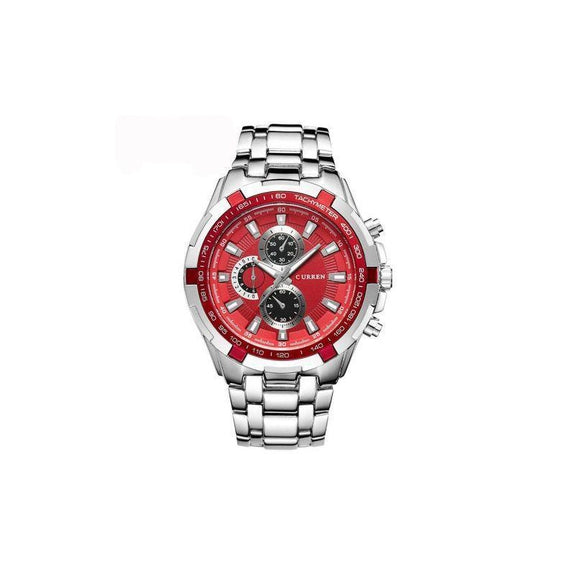 Curren Stainless Steel Quartz Watch Waterproof-Red-