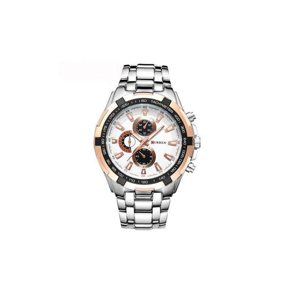Curren Stainless Steel Quartz Watch Waterproof-Rose Gold/White-