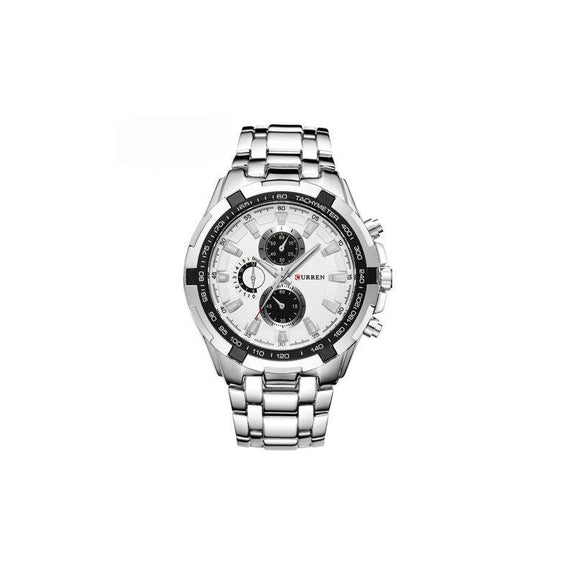 Curren Stainless Steel Quartz Watch Waterproof-White/Black-