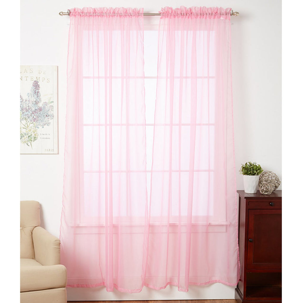 Linda Sheer Voile Curtain Panels - Various Colors - 4-Pack-PINK-Daily Steals