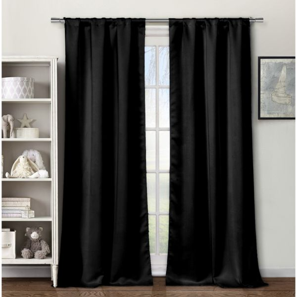 "Cortinas opacas tejidas de triple capa de 84 ""- 4 paquetes-Black-Daily Steals"