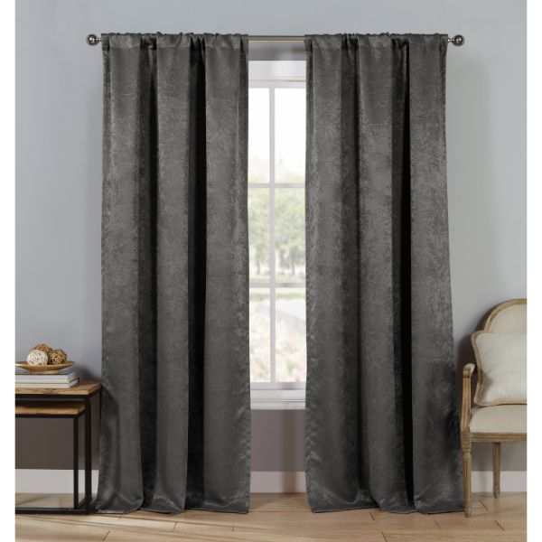 "Triple Layered Woven 84"" Blackout Curtains - 4 Pack-Gray-Daily Steals"