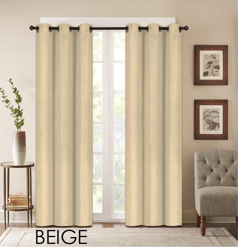 "Denver Embossed Curtain Panels – Set of Two (38"" x 84"")-Beige-Daily Steals"