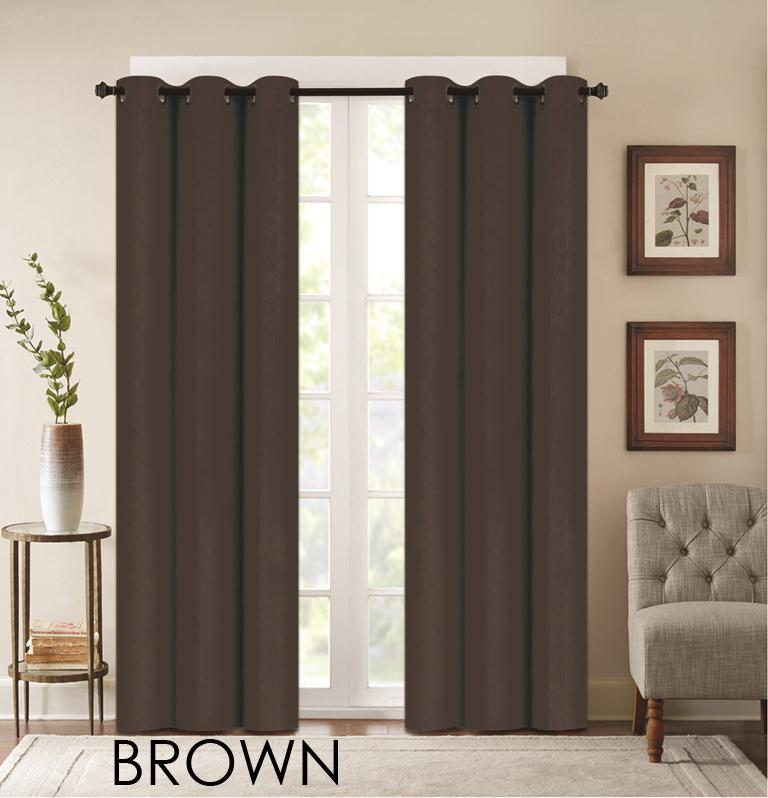 "Denver Embossed Curtain Panels – Set of Two (38"" x 84"")-Brown-Daily Steals"
