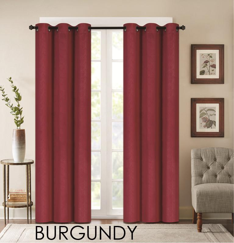 "Denver Embossed Curtain Panels – Set of Two (38"" x 84"")-Burgundy-Daily Steals"
