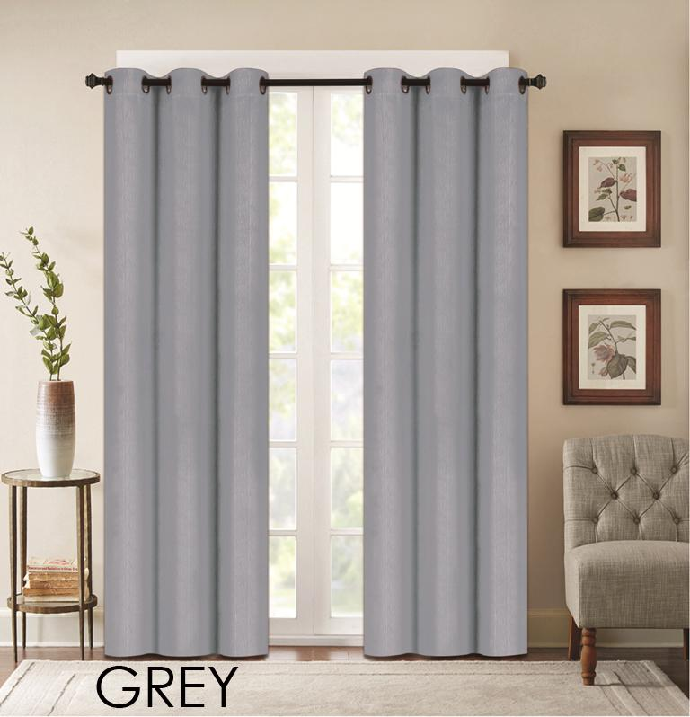 "Denver Embossed Curtain Panels – Set of Two (38"" x 84"")-Grey-Daily Steals"