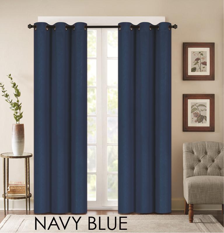 "Denver Embossed Curtain Panels – Set of Two (38"" x 84"")-Navy Blue-Daily Steals"