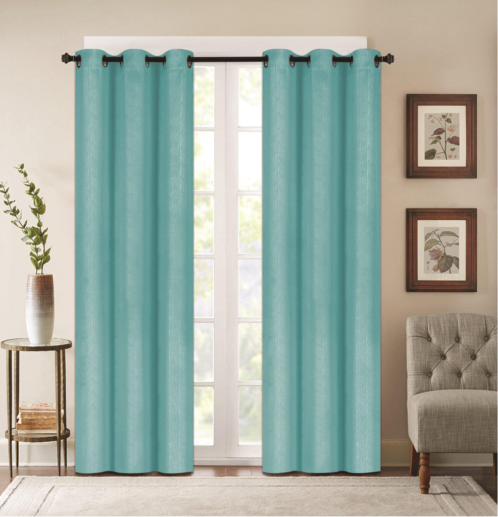 "Denver Embossed Curtain Panels – Set of Two (38"" x 84"")-Teal-Daily Steals"