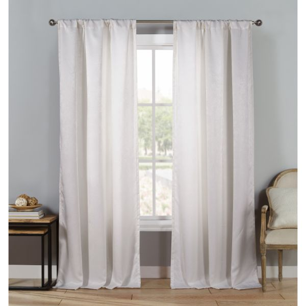 "Triple Layered Woven 84"" Blackout Curtains - 4 Pack-White-Daily Steals"
