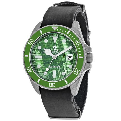 Christian Van Sant Men's Montego Vintage Watch-Black Distressed Leather Strap with Black Dial-Daily Steals