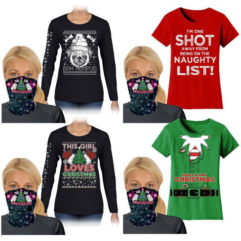 Women's Funny Christmas T-Shirt or Long Sleeve Shirt with Gaiter