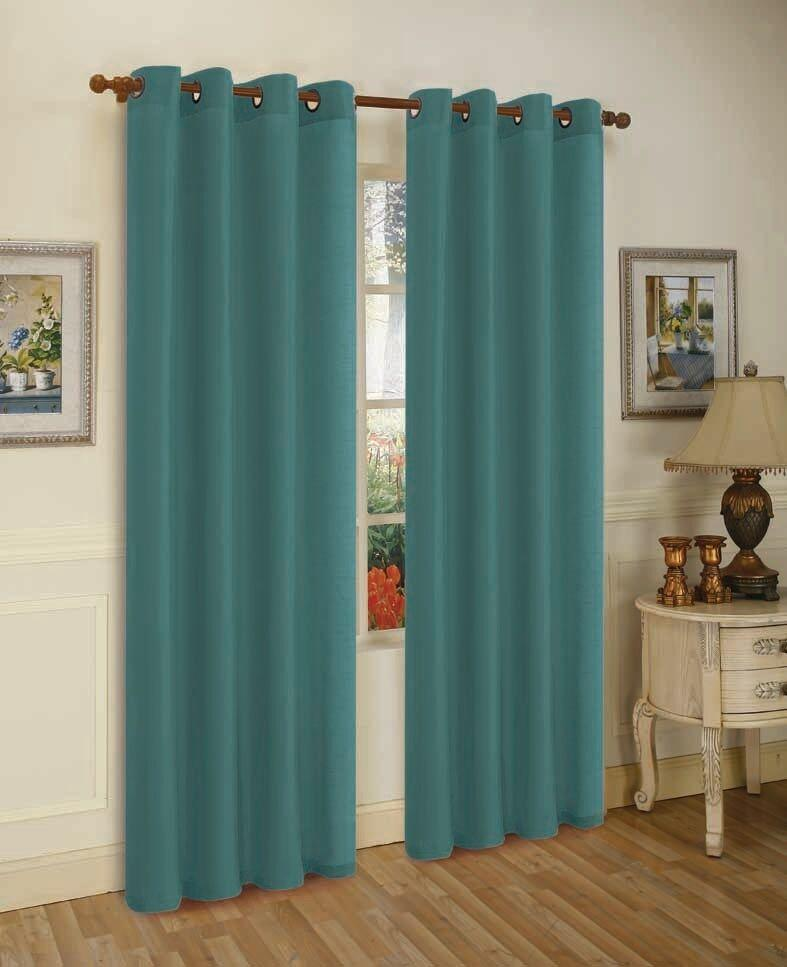 Mira Faux Silk Curtains with Bronze Grommets - 3 Panels-Cyan Blue-Daily Steals