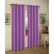 Set of Two Stylish Curtain Panels with Rod Grommets: 58 x 84 Inches-Purple-Daily Steals