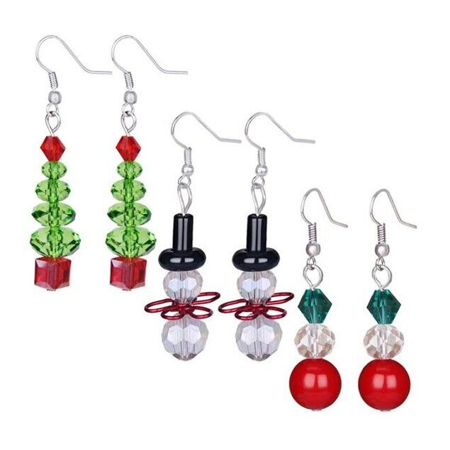 update alt-text with template Daily Steals-3 Pack Crystal Holiday Dangling Earrings-Jewelry-