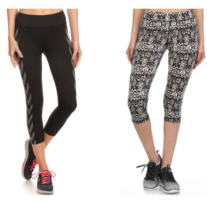 Women's Abstract Print Capris Performance Leggings - 2 Pack-S-Daily Steals